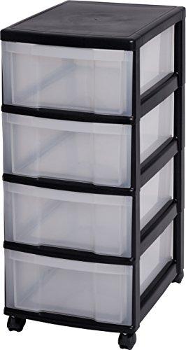 Cassettiere In Plastica Con Rotelle.Carrello Con Quattro Cassetti Lris Con Rotelle Nmc 004 Nero