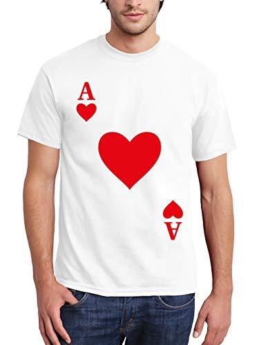 clothinx Herren T-Shirt Karneval & Fasching Spielkarte Herz Ass Kostüm Weiß Größe (Gruppe Karte Kostüm)