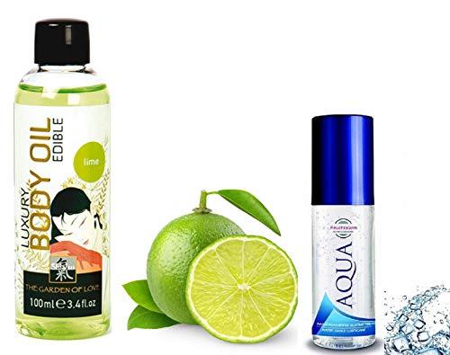 Erotik Massage-Öl Set Sexöl mit aphrodisierend süßem Limette-Duft essbar (100ml.) & Aqua wasserbassiertes Gleitmittel (100ml.) Liebesöl für Körper-Massagen, Paar-Massagen & Intim-Massagen