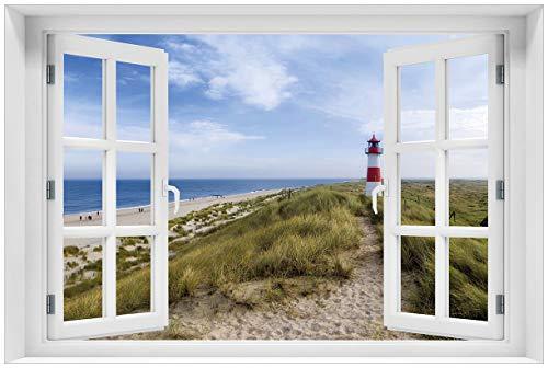 Wallario Acrylglasbild mit Fenster-Illusion: Motiv Am Strand von Sylt Leuchtturm auf der Düne Panorama - 60 x 90 cm mit Fensterrahmen in Premium-Qualität: Brillante Farben, freischwebende Optik