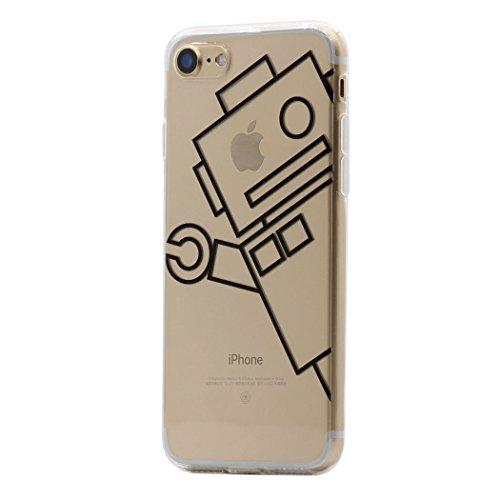 Iphone 8 / 7 custodia cover , keyihan interessante divertente modello leggero sottile morbido trasparente chiaro tpu silicone protettiva caso per apple iphone 8 / 7 (robot)