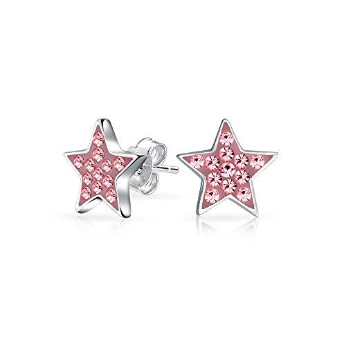 Amerikanische Patriotische Sphärischen Rock Star Kristalle Rosa Stern Ohrstecker Für Damen Sterling Silber (Patriotische Ohrringe)