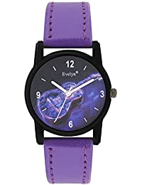 Evelyn Danim Purple Dial Purple Strap Stylish Analogue Watch For Girls-Eve-669