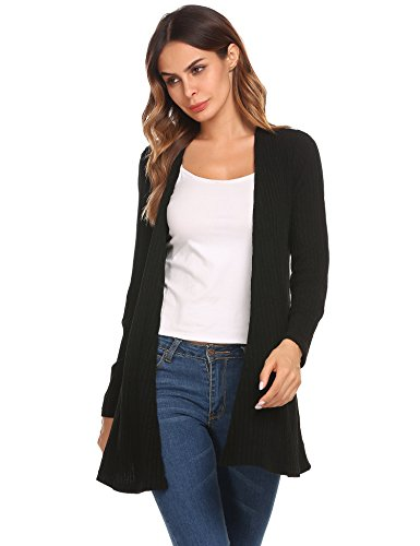 Beyove Damen Strickjacke Cardigan Bolero Strickmantel Kimono Pullover Blazer Jacke (EU 40(Herstellergröße: L), (B) Schwarz)
