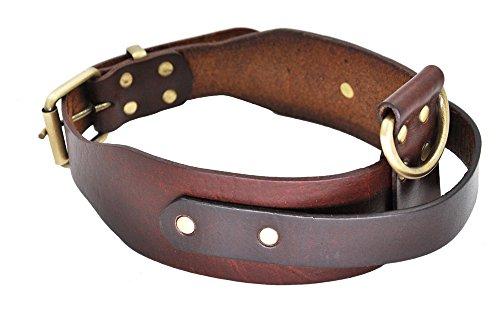 SLZZ- Collar de Piel para Perro con asa - Buen Control para Perros medianos y Grandes - Resistente y cómodo Suave Cuero Latigo auténtico - Contorno de Cuello Ajustable 45,72 cm - 55,88 cm
