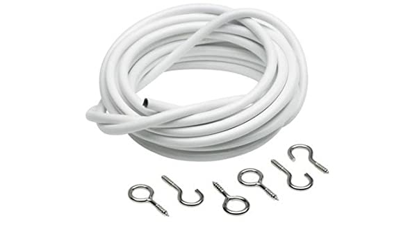 Net Curtain Wire White Window Cord Cable Viole 1m to 5m FREE HOOKS