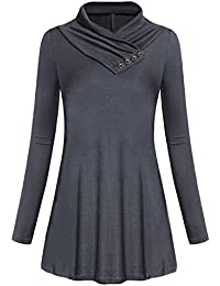 shermie Women s Long Sleeve Cowl Neck Button A-line Flowy Flared Form  Fitting Casual Tunic 37ac027f0