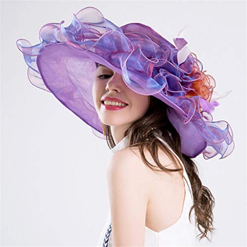 ToDIDAF FY04 Kentucky Derby Hat for Women, Organza Church Dress, Sun Hat, Wedding Hat, Fascinator Bridal Tea Party Cocktail Party Shopping Formal Occassion Outdoor Activities (Purple) (Und Purple Teal Party)