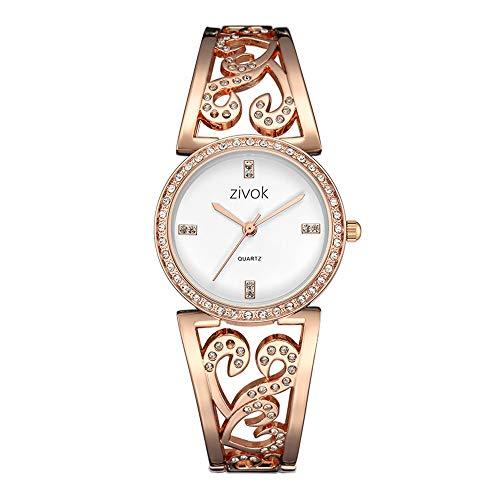 Damenuhren Legierung Geschnitztes Strassarmband Fein Strass Skala Zifferblatt Quarzwerk Armband Uhren für Damen Luxus, Rose Gold (Luxus Frauen Mode Uhren)