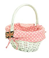 east2eden White Willow Wicker Traditional Shopping Easter Basket with Pink Gingham Liner in Choice of Sizes & Set Deals (Medium)