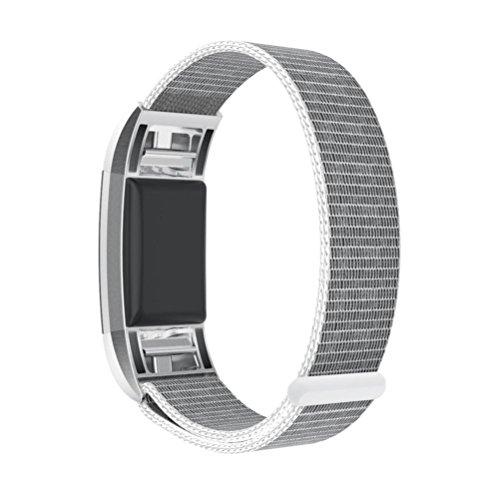 Preisvergleich Produktbild Fitbit Charge 2 armband,  SHOBDW Neuankömmling Luxus Nylon Sport Laufen Uhr Armband Handgelenk Band Strap für Fitbit Charge 2 (130-220MM,  Silber)