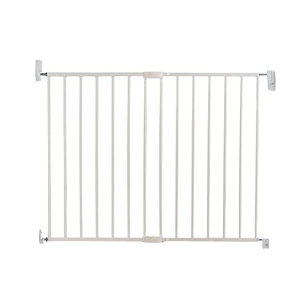 Lindam Wall Fix Extending Metal Safety Gate (Push to Shut/Easy Close) Lindam One handed push to shut closing Fixes directly to the wall. Baby Gate can be set to open in one direction only or in both directions Extends to fit openings between 64.5cm and 102cm.  It is important that you measure the opening of where you want to install your safety gate correctly. Always measure from the narrowest point, typically skirting to skirting 1