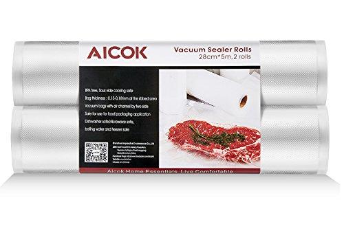 Rollos Envasado al Vació Aicok, Pack de 2 Rollos 28 x 500cm, Rollos Bolsas para para el Almacenamiento de Alimentos y Sous Vide Cocina, libre de BPA