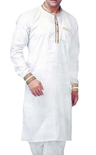 INMONARCH Mens weiße Bettwäsche Kurta Pyjama Designer Nehru Kragen KP08 - Womens Designer-bettwäsche
