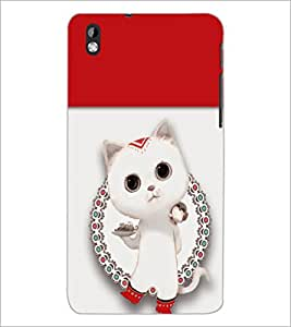 PrintDhaba kitty D-5486 Back Case Cover for HTC DESIRE 816 (Multi-Coloured)