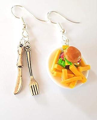 boucles d'oreilles fimo originales,assiette burger frites,boucles dépareillées,boucles gourmandes,sandwichs