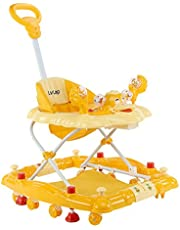 LuvLap Comfy Baby Walker & Rocker, Height Adjustable with Light & Musical Toys, 6m+ (Yellow)