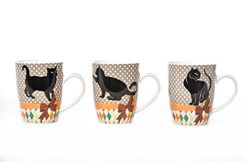 AVENUELAFAYETTE Lot de 3 Mugs Chat 27,5 cl en céramique