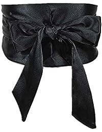 Mujer Satén Sash amplia cintura cinturón Self nudo corbata lazo cinturón Vestido de fiesta boda cinturón