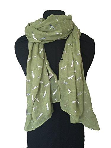 bufanda-verde-clair-con-mini-libelula-de-plata-light-green-with-silver-glitter-mini-dragonfly-scarf-