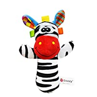 Dearmy 15cm Hand Rattle Bell Toy Infant Baby Cute Soft Stuffed Animal Plush Appease Comfort Hand Shake Early Learning Intelligent Development Rattles Toy Gifts