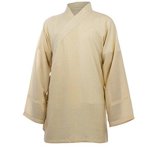 Baumwolle (Leicht) Tai Chi Oberteil diagonaler Kragen - Taiji Shirt - Tai Chi Anzug - Kung Fu - Wushu - Beige - 165