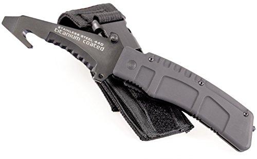 Security-Discount Germany - Einsatzmesser Titan - Titancarbid beschichtet inkl. Gürtelholster