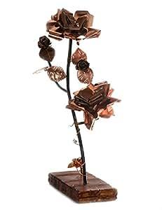 Genio Italianio, lavorazione artistica del rame - Ramo di rosa in rame su base