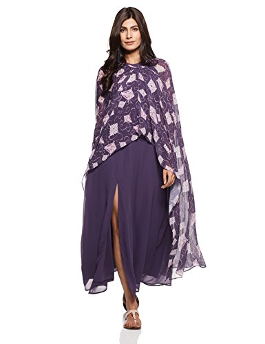 Rheson by Sonam & Rhea Kapoor Women's Saree Dress (AW17RHSUPERDRPR_Purple_Small)