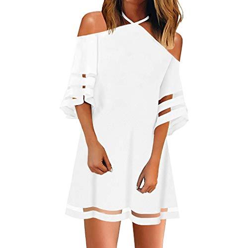 GOKOMO Damen V-Ausschnitt Mesh Panel Bluse 3/4 Bell Sleeve lose Blütenblätter Top Shirt Kleid(Weiß,XX-Large) -