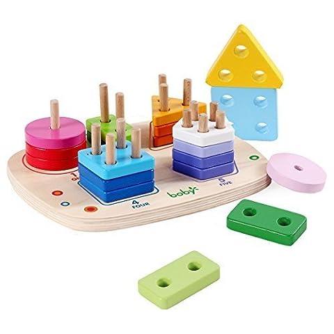 Holz Educational Preschool Learning Geometrische Brett Block-Stacking Sorting Puzzle Spielzeug, Geburtstagsgeschenk Spielzeug für Alter 3 4 5 Jahre alt und Up Kind-Baby-Kleinkind -Jungen-Mädchen