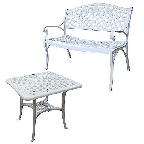 Lazy Susan - Sandra Quadratischer Kaffeetisch mit 1 Rose Gartenbank - Gartenmöbel Set aus Metall, Weiß