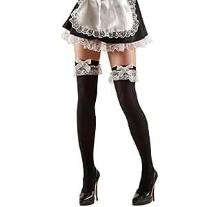 Femme de chambre bas autoportants bas noir et blanc sexy bas au dessus du genou bas pour femme déguisement accessoire soubrette servante