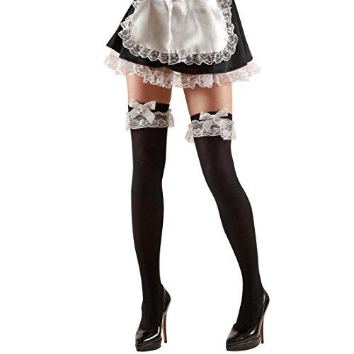 NET TOYS Zimmermädchen Overknees Halterlose Strümpfe schwarz-weiß Sexy Overknee Kniestrümpfe Damenstrümpfe Kostüm Accessoire Zofe - Maid Kostüm Accessoires