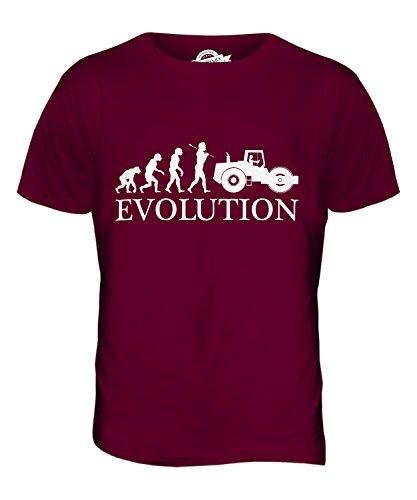CandyMix Dampfwalze Evolution Des Menschen Herren T Shirt Burgunderrot