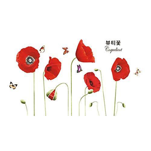 LIOOBO rote Mohnblumen Wandaufkleber entfernbare Blume Wandaufkleber Mohn Wandtattoo für Zuhause Küchendekor