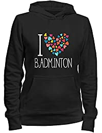 Idakoos I love Badminton colorful hearts - Sport - Damen Hoodie