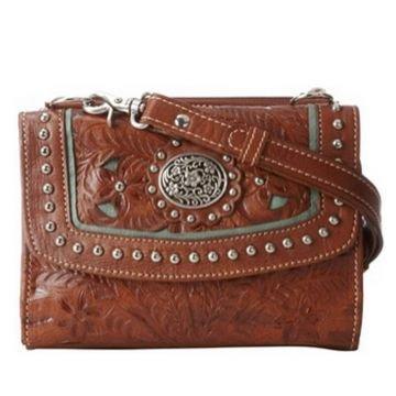 American West Two Step Leder Kreuz Körper Mappen-Handtaschen (American West Handtasche)