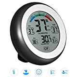 JIGUOOR Multifunctional Digital Thermometer,Hygrometer,Temperature Humidity MeterMax & Min Value Trend Display with?/? Touch Screen