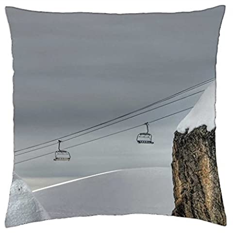 ski lift passing between two boulders - Throw Pillow Cover Case (18