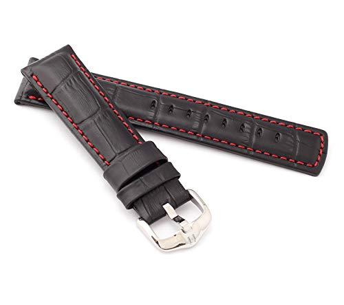 tor Style Uhrenarmband Modell Grand Duke Größe Uhr 22 mm/Schließe 20 mm, Farbe Schwarz/rot ()