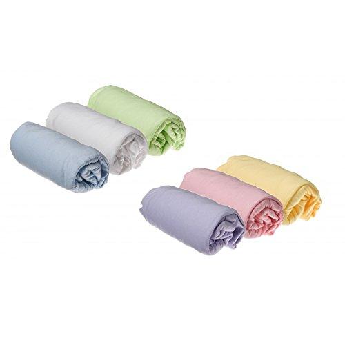 Lot de 6 Draps housse Jersey coton 40x80 / 40x90 cm- coloris mixte