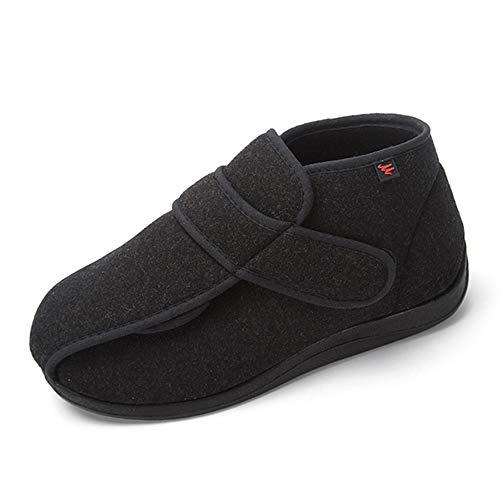 Willsky Zapatos diabéticos para Hombres, Espuma viscoelástica Zapatillas para ensanchar Velcro Ajustable Ayuda Alta Cómoda Artritis Edema Zapatos hinchados para la casa,Black,42