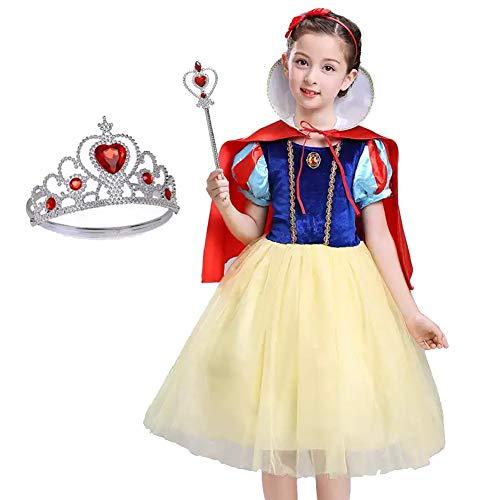 AEIN Halloween Mädchen Kleider, Halloween Kinderkleidung, Cosplay Schneewittchen Prinzessin Kleid Maskerade Komfortable atmungsaktive Schleier-150cm