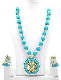 Ambal Silk Thread Jewellery Set For Women - Sky Blue
