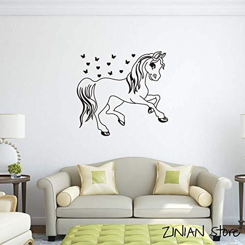 guijiumai Cute Cartoon Pony Wall Stickers per la Camera dei Bambini Little Girl's Dream con Star Home Decoration Fai da Te Lovely Art Mural Poster Bianco 56x60cm