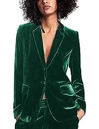 ecdca8885395 Uranus Femme Blazer Velours Col Revers Slim Fit Un Bouton Veste de Tailleur  Manteau Printemps Automne