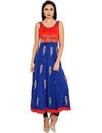 Ira Soleil Women's Polyetser Stretch Knit Long Anarkali Kurta With Gold Print