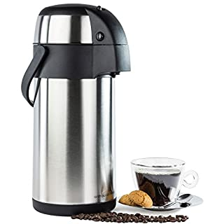Andrew James 3L Airpot Hot Water Dispenser with Pump Action - Double-Walled Insulated and Lightweight | Hot and Cold Drinks | Perfect for Coffee and Tea