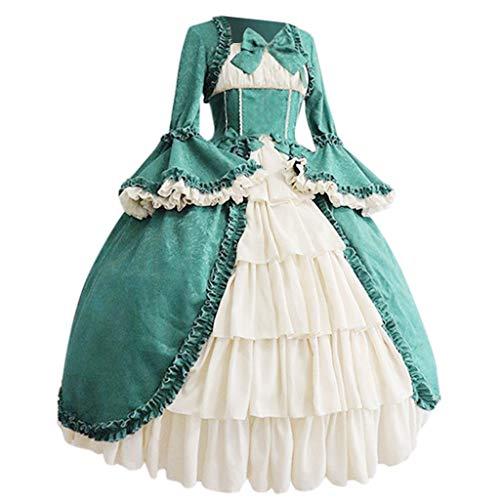 Kostüm Girl Gothic Süßes - RYTEJFES Ballkleid Mittelalter Kleid mit Trompetenärmel Party Kostüm Damen bodenlang Vintage Renaissance Costume Cosplay Gothic Court Patchwork Bow Kleid